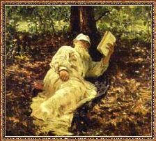 Л.Н. Толстой на отдыхе в лесу И. Репин. 1891